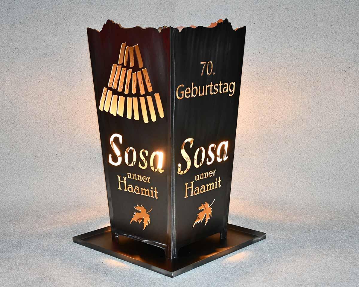 Feuerkorb Wunschmotiv Kunde Sosa
